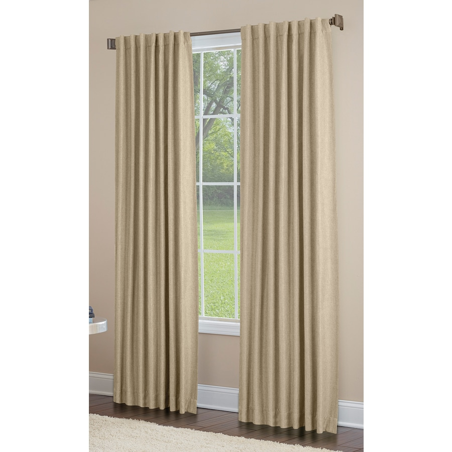 allen + roth Gatton 95-in Sage Polyester Back Tab Room Darkening Single Curtain Panel