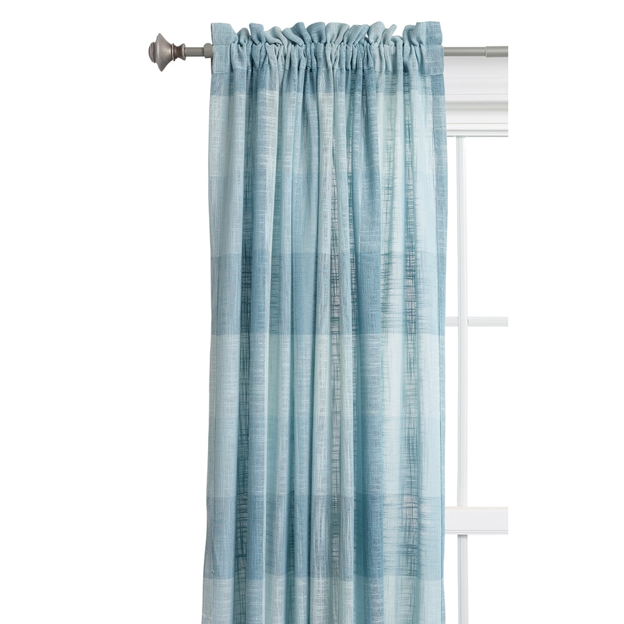Style Selections Kenna 84-in Mineral Blue Polyester Rod Pocket Light Filtering Single Curtain Panel