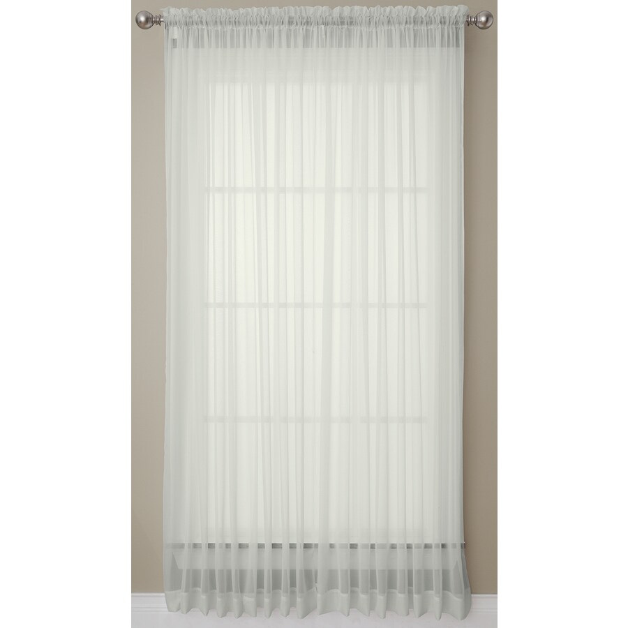 Style Selections Prism 84-in Grey Polyester Rod Pocket Light Filtering Sheer