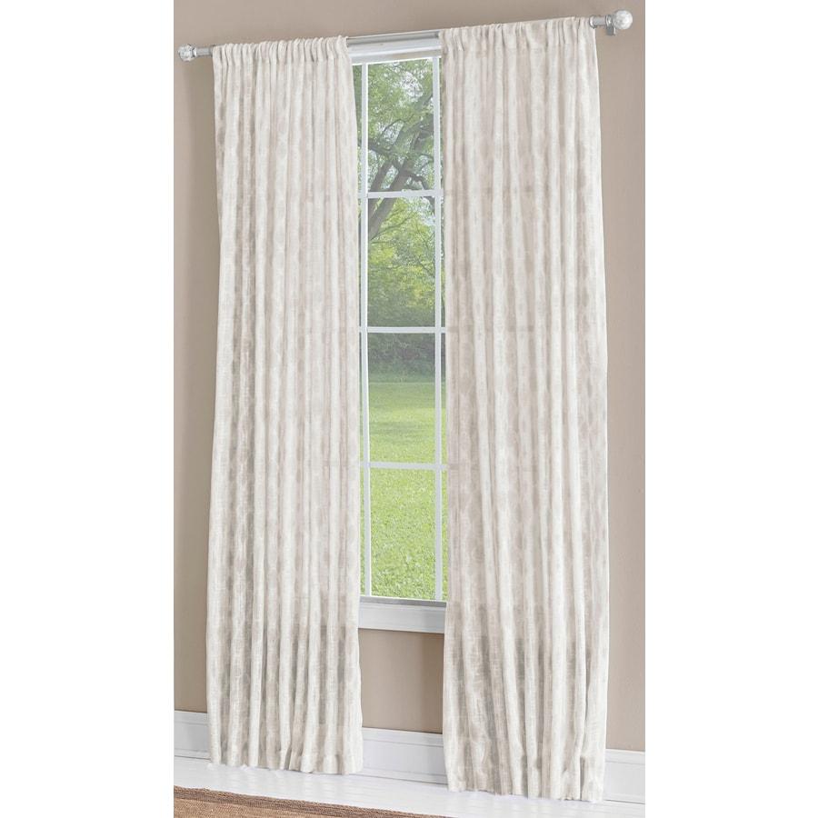 allen + roth Birkbeck 63-in Neutral Polyester Rod Pocket Light Filtering Single Curtain Panel