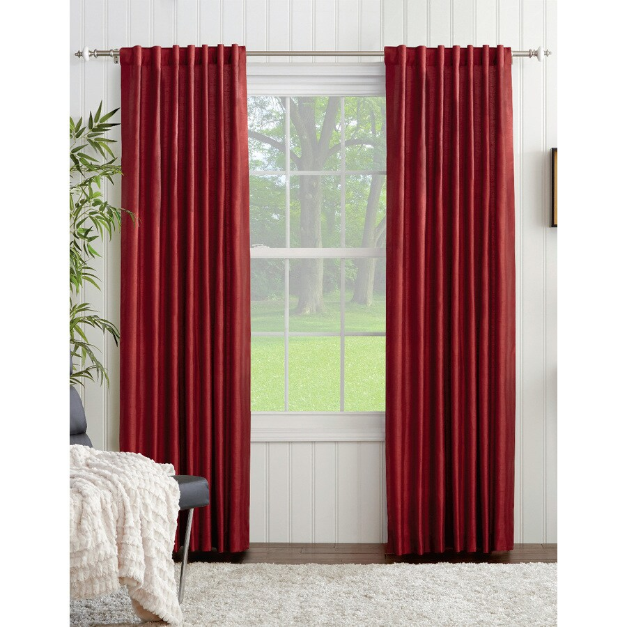 allen + roth Glenellen 84-in Red Polyester Back Tab Light Filtering Single Curtain Panel