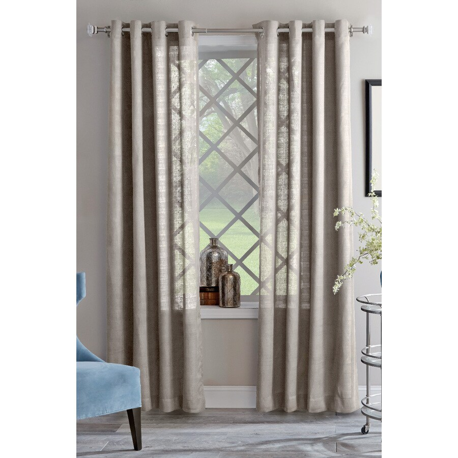 allen + roth Janston 84-in Ivory Cotton Grommet Light Filtering Single Curtain Panel