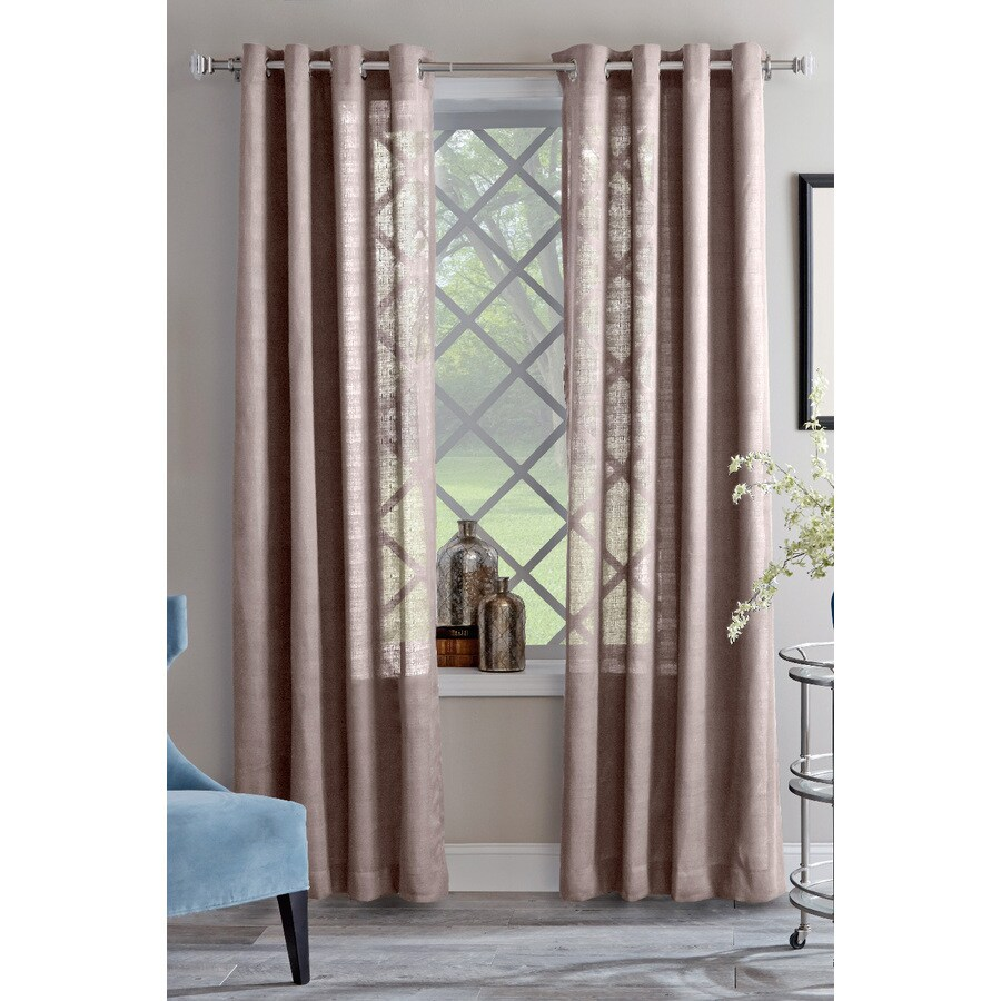 allen + roth Janston 84-in Taupe Cotton Grommet Light Filtering Single Curtain Panel