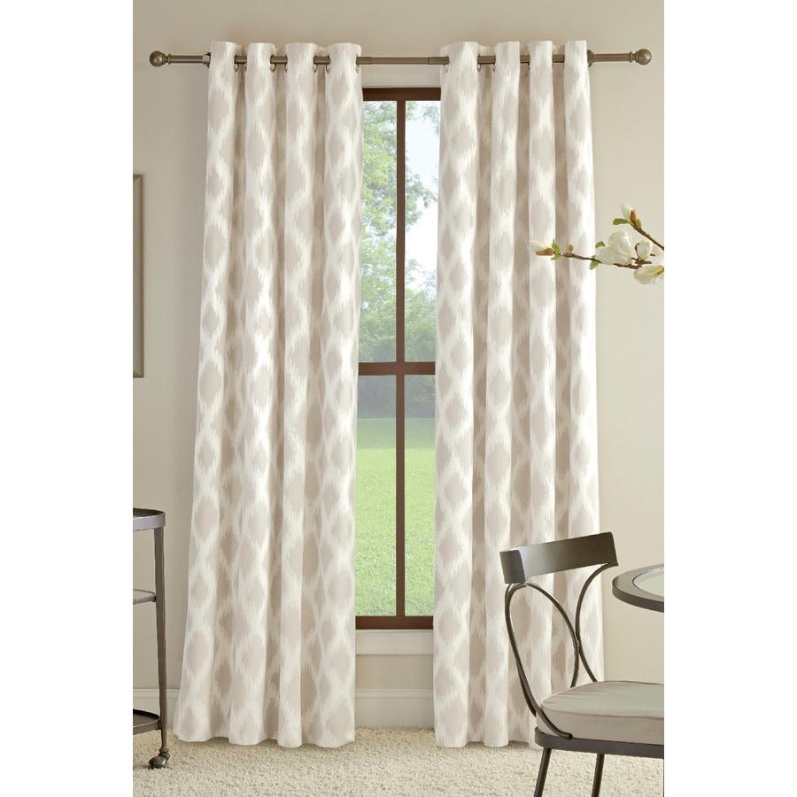 allen + roth Bookner 84-in Neutral Cotton Grommet Light Filtering Single Curtain Panel