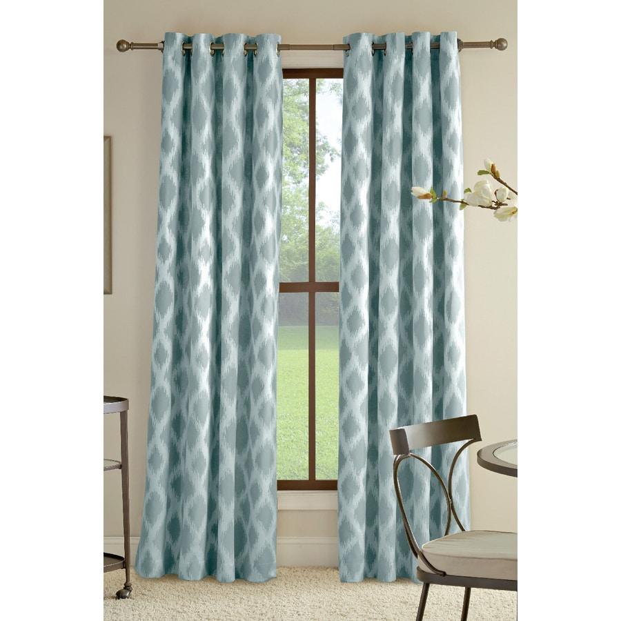 allen + roth Bookner 63-in Blue Cotton Grommet Light Filtering Single Curtain Panel