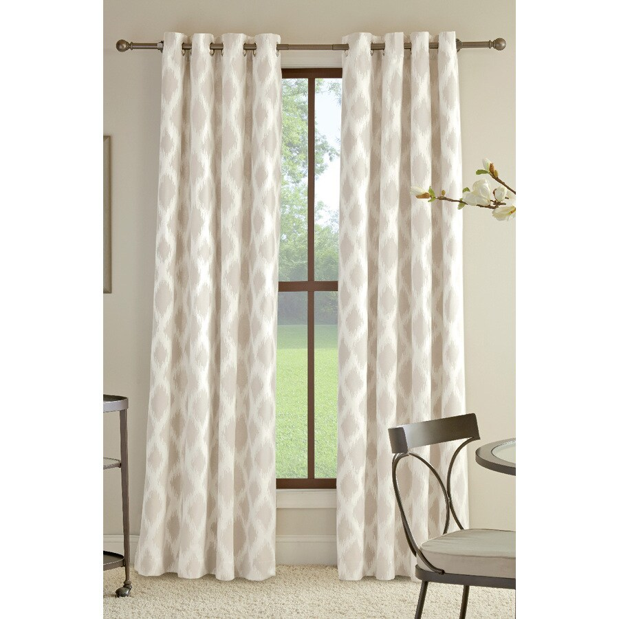 allen + roth Bookner 63-in Neutral Cotton Grommet Light Filtering Single Curtain Panel