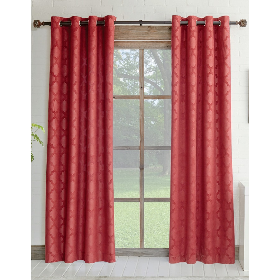allen + roth Drenham 63-in Red Polyester Rod Pocket Room Darkening Single Curtain Panel