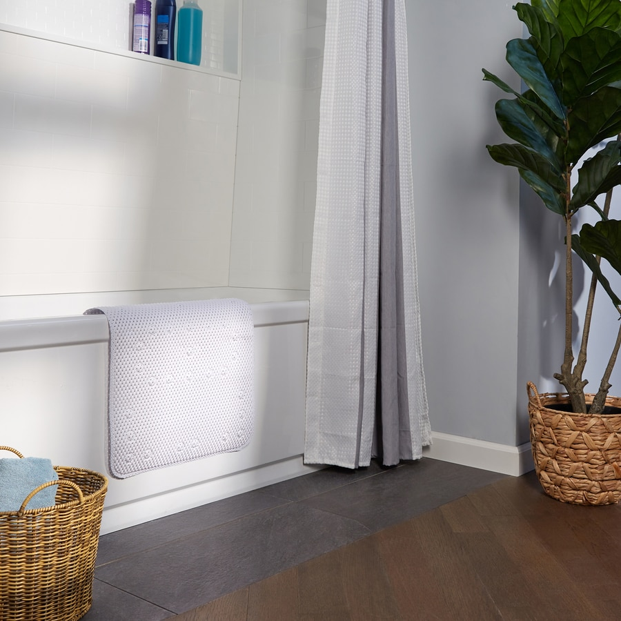 Style Selections 36-in x 17-in White Polyester Bath Mat
