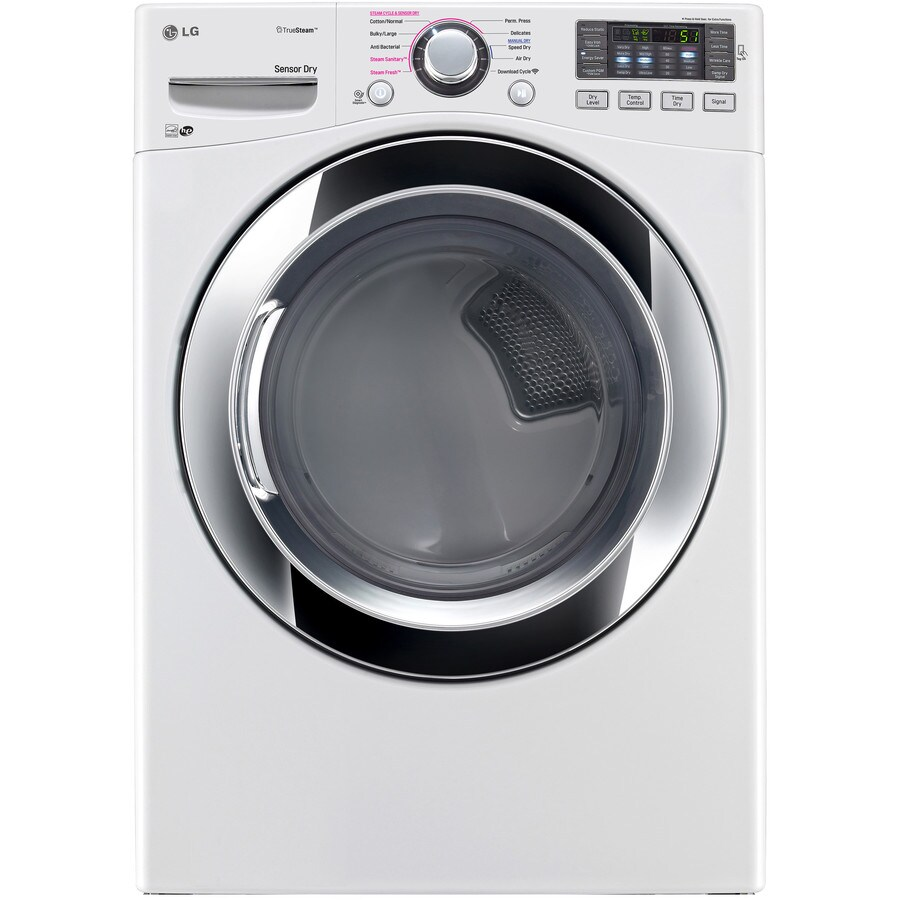 LG 7.4-cu ft Stackable Electric Dryer with Steam Cycle (White) ENERGY STAR