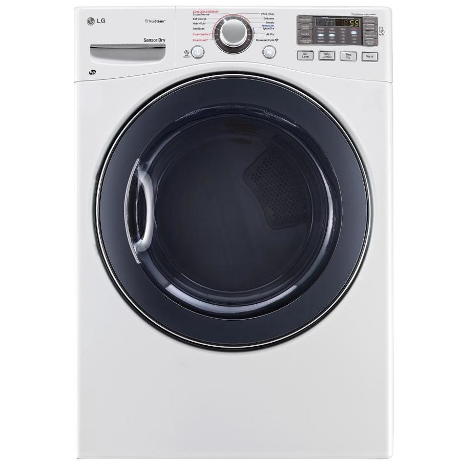LG 7.4-cu ft Stackable Electric Dryer with Steam Cycle (White)