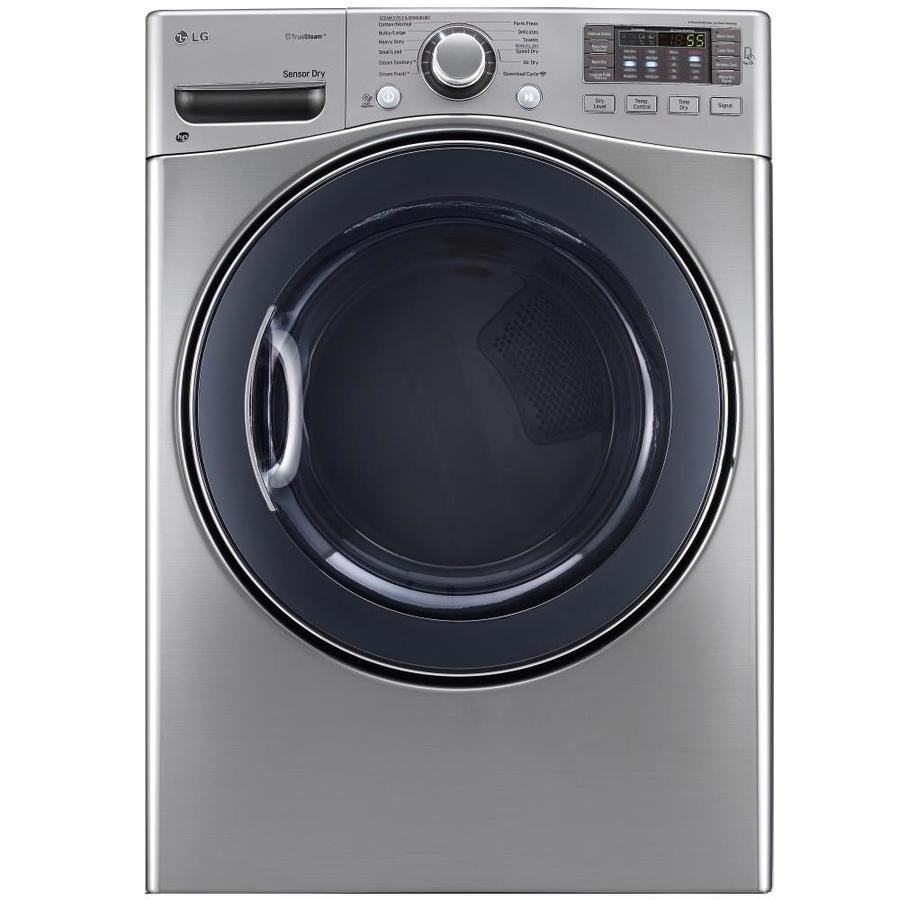 LG 7.4-cu ft Stackable Electric Dryer with Steam Cycle (Graphite Steel)
