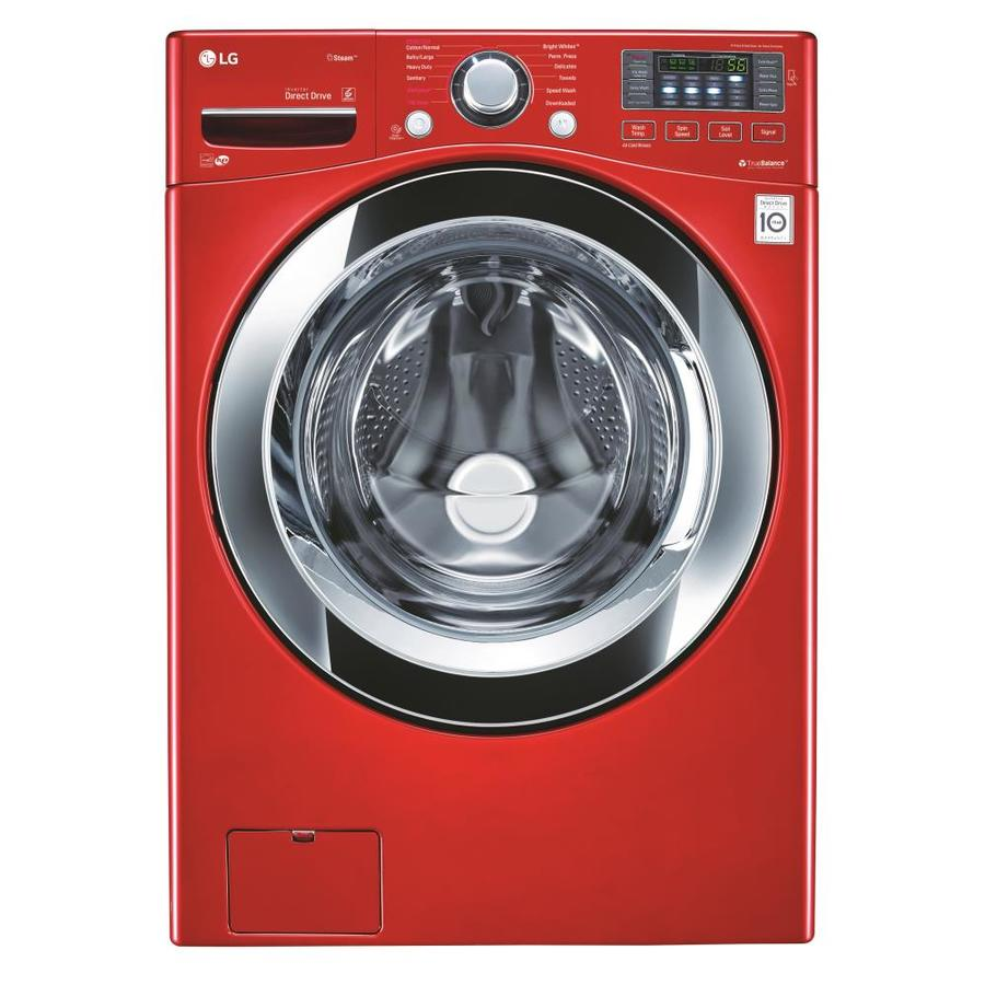 LG 4.5-cu ft High-Efficiency Stackable Front-Load Washer with Steam Cycle (Wild Cherry Red) ENERGY STAR