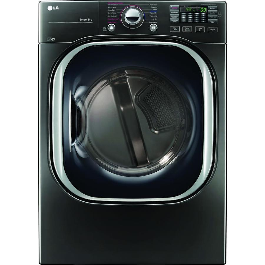 LG 7.4-cu ft Stackable Gas Dryer with Steam Cycle (Black Stainless Steel) ENERGY STAR