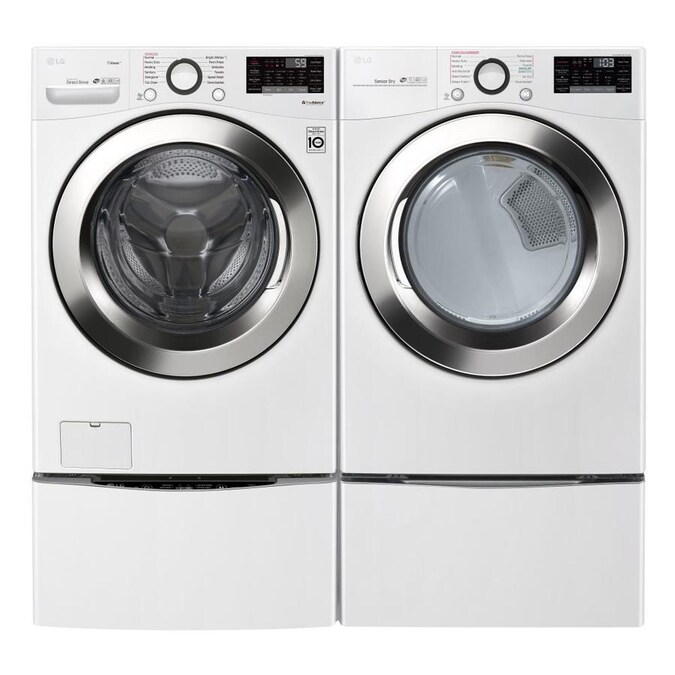 Lg Steam Smart Wi Fi Enabled 4 5 Cu Ft High Efficiency Stackable Steam Cycle Front Load Washer White Energy Star In The Front Load Washers Department At Lowes Com