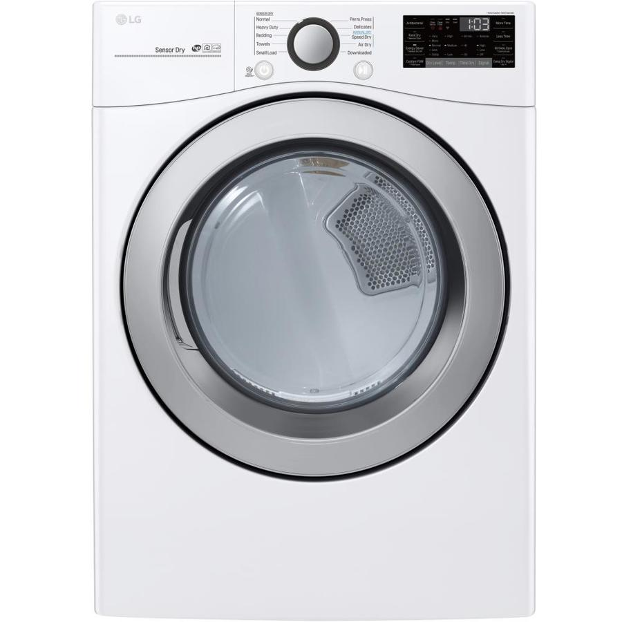 Lg Smart Wi Fi Enabled 7 4 Cu Ft Stackable Electric Dryer White Energy Star In The Electric Dryers Department At Lowes Com