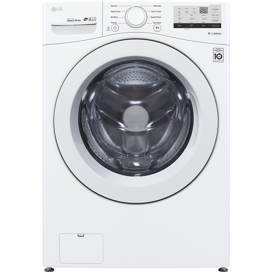 Lg 4 5 Cu Ft High Efficiency Stackable Front Load Washer White Energy Star In The Front Load Washers Department At Lowes Com