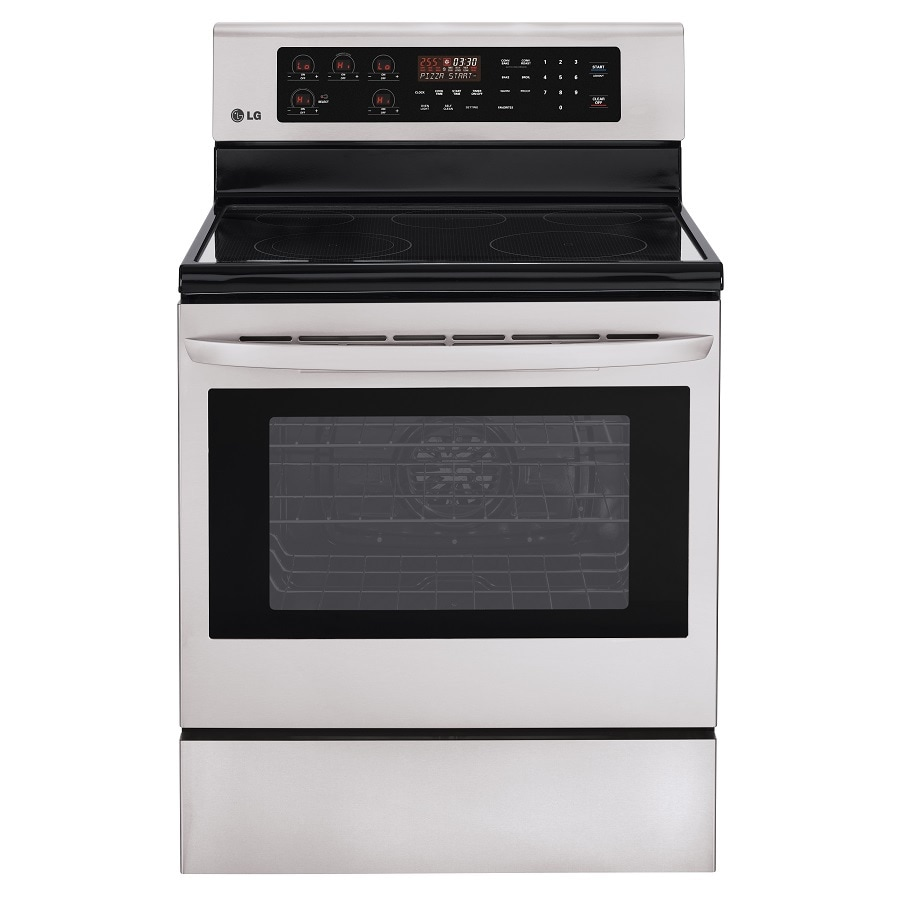 LG Smooth Surface Freestanding 5-Element 6.3-cu ft Self-Cleaning Convection Electric Range (Stainless Steel) (Common: 30-in; Actual: 29.87-in)