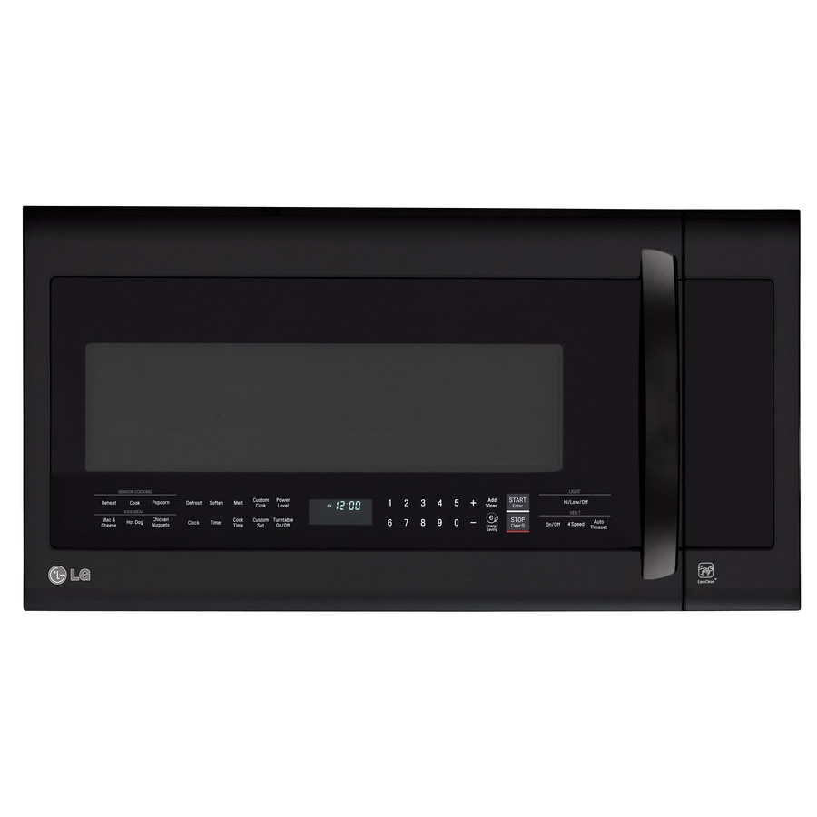 LG 2-cu ft Over-The-Range Microwave with Sensor Cooking Controls (Smooth Black) (Common: 30-in; Actual: 29.87-in)
