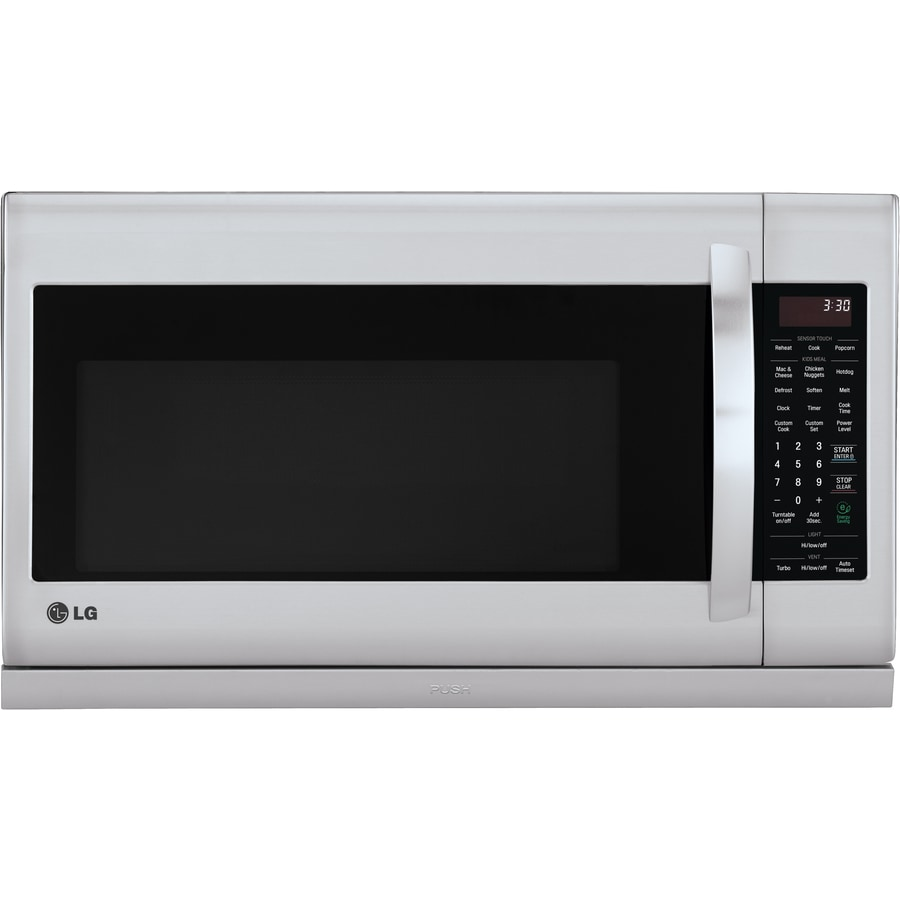 Shop lg 2 2 cu ft over the range microwave with sensor cooking controls stainless steel for Stainless steel interior microwave reviews