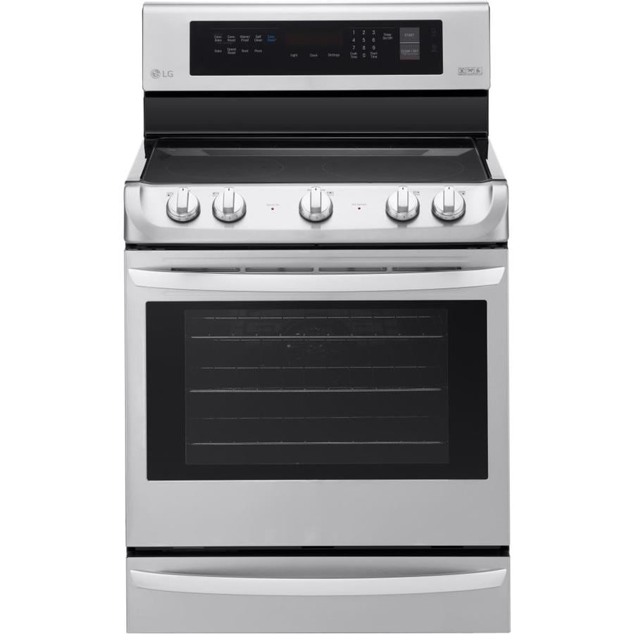 LG EasyClean Smooth Surface Freestanding 5-Burner 6.3-cu ft Self-Cleaning Convection Electric Range (Stainless Steel) (Common: 30-in; Actual: 29.9375-in)