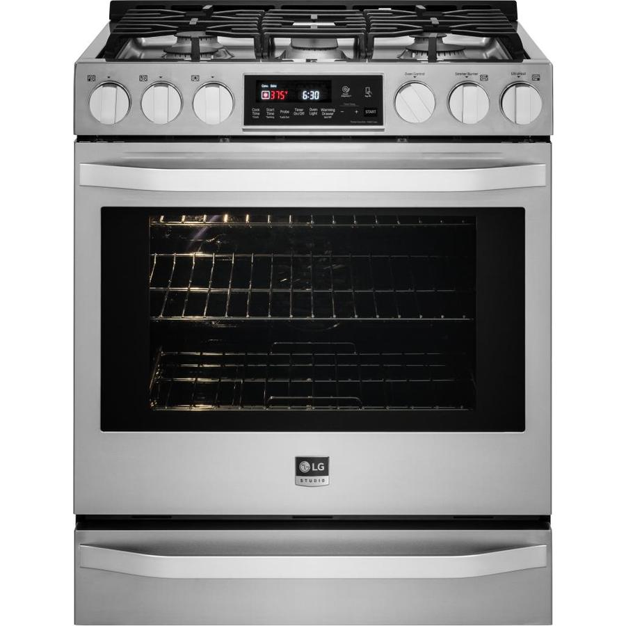 LG Studio 5-Burner 6.3-cu ft Slide-In Convection Gas Range (Stainless Steel) (Common: 30-in; Actual 29.875-in)