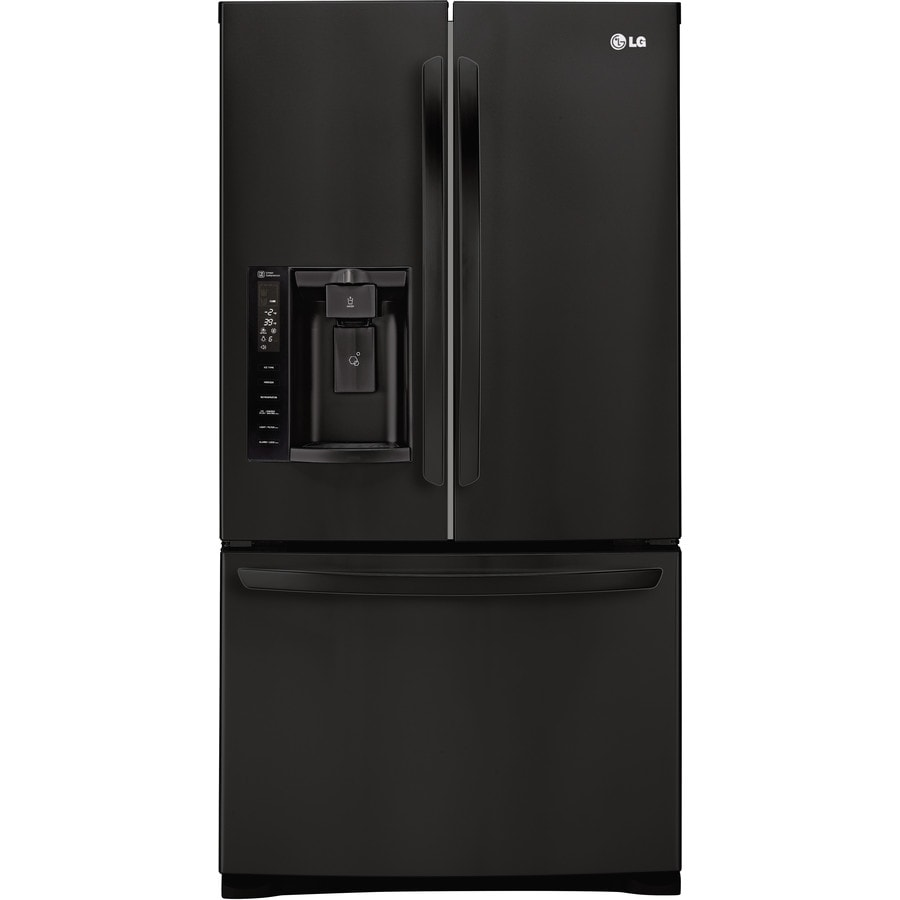 LG 26.8-cu ft French Door Refrigerator with Single Ice Maker (Smooth Black) ENERGY STAR