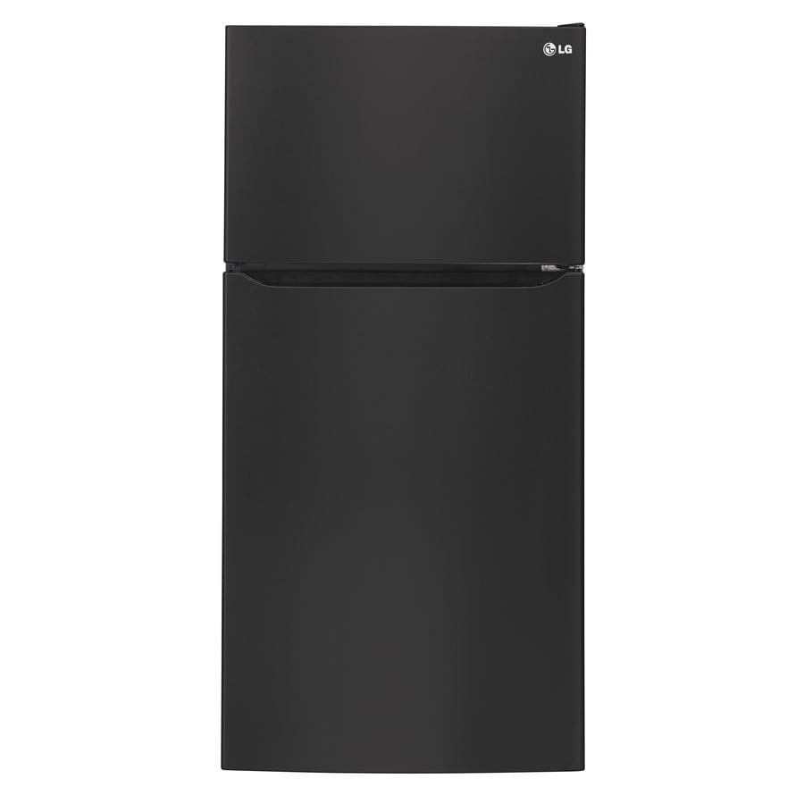 LG 23.8-cu ft Top-Freezer Refrigerator with Single Ice Maker (Smooth Black) ENERGY STAR