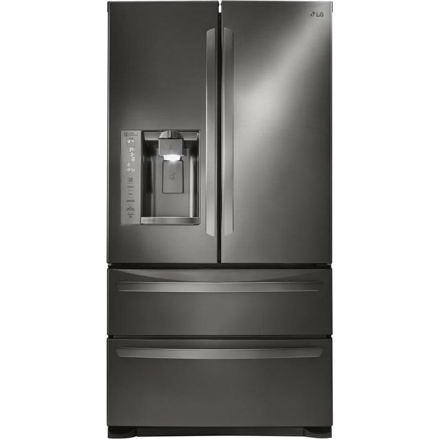 LG 26.7-cu ft 4-Door French Door Refrigerator with Single Ice Maker (Black Stainless Steel) ENERGY STAR