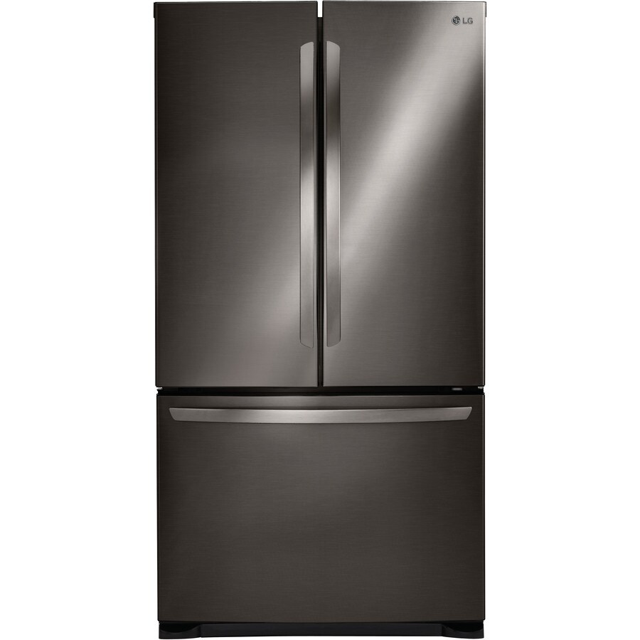 LG 25.4-cu ft French Door Refrigerator with Single Ice Maker (Black Stainless Steel)