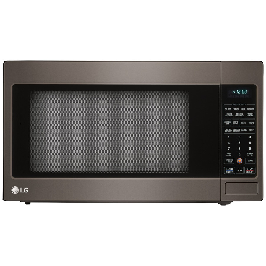 Shop lg 2 cu ft 1200 watt countertop microwave black stainless steel at lowes com