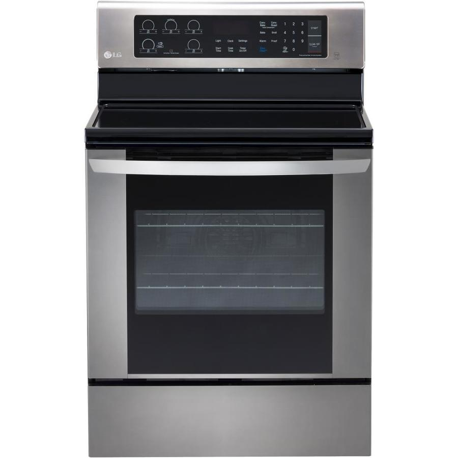 LG Smooth Surface Freestanding 5-Burner 6.3-cu ft Convection Electric Range (Stainless Steel) (Common: 30-in; Actual: 29.875-in)