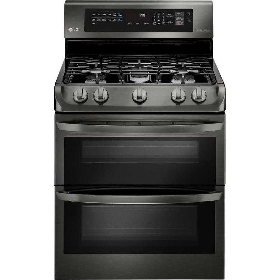 Shop lg easyclean 30 in 5 burner 4 3 cu ft 2 6 cu ft double oven convection gas range black - Gas stove double oven reviews ...