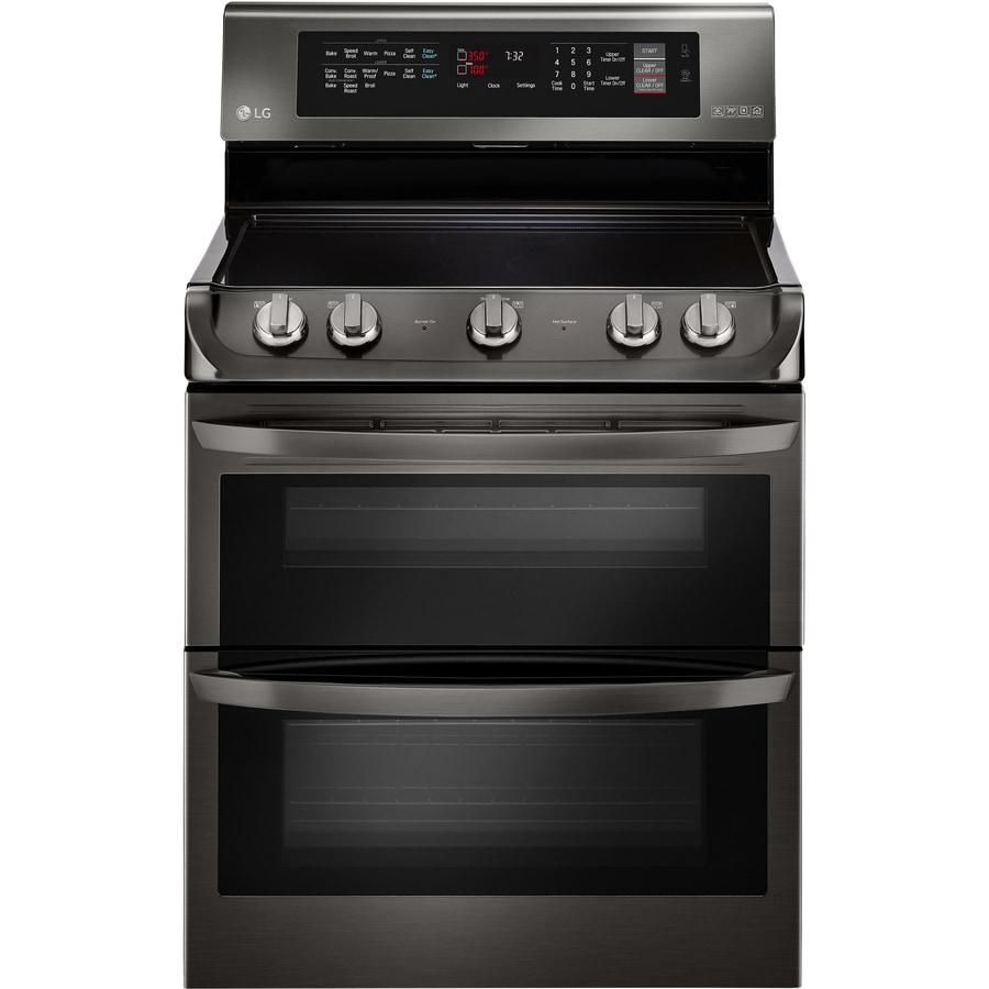 LG EasyClean 30-in Smooth Surface 5 4.3-cu ft/3-cu ft Double Oven Convection Electric Range (Black Stainless Steel)
