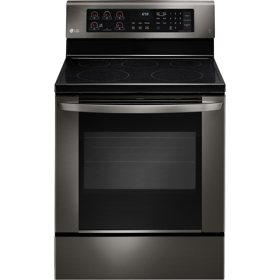 LG Smooth Surface Freestanding 5-Element 6.3-cu ft Convection Electric Range (Black Stainless Steel) (Common: 30-in; Actual: 29.875-in)
