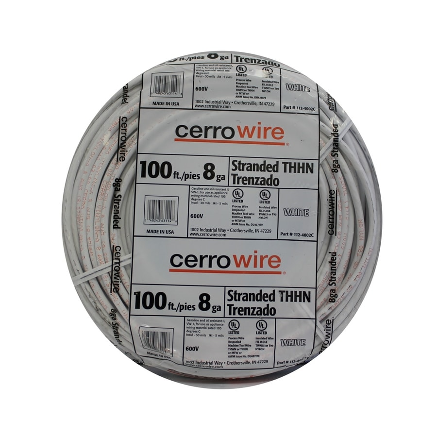 Cerro Wire 100-ft 8 AWG Stranded White THHN Wire