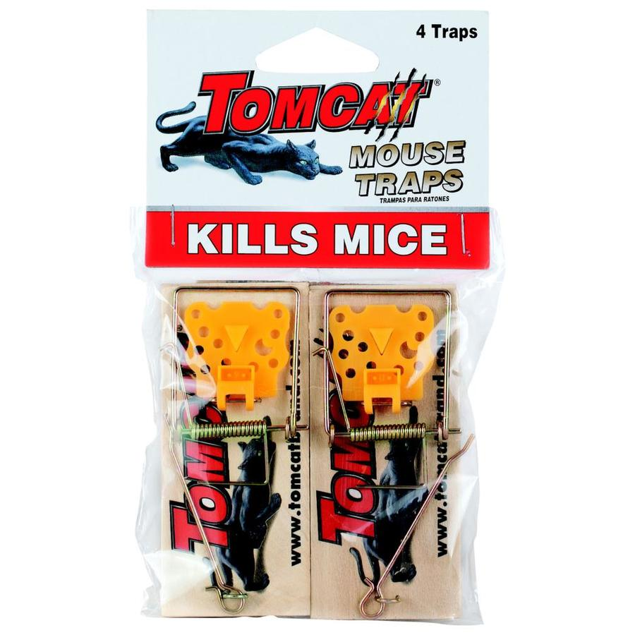 TOMCAT Wooden Mouse Trap 4-Pack Indoor/Outdoor Rodent Trap for House Mice
