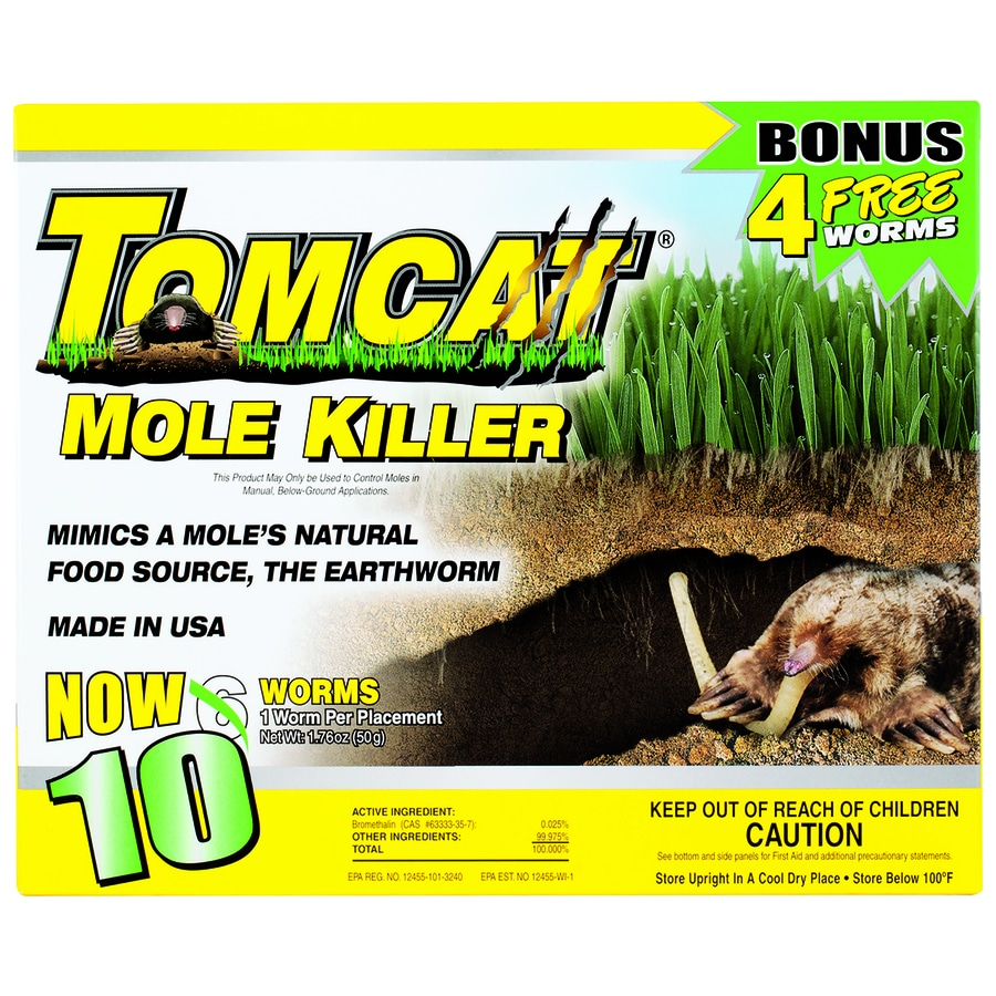 TOMCAT Mole Killer - Worm Bait 10-Pack Outdoor Rodent Poison Bait For