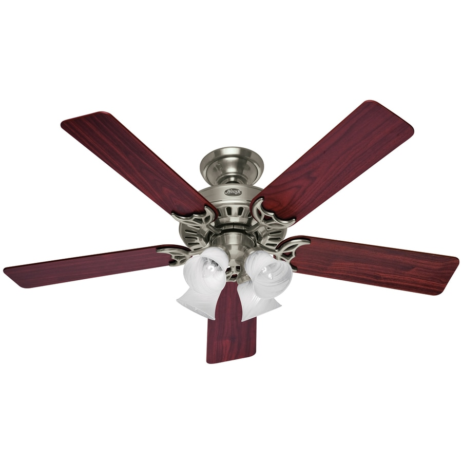 Hunter ceiling fan without light kit : Hunter in studio brushed nickel ceiling fan with light kit at lowes