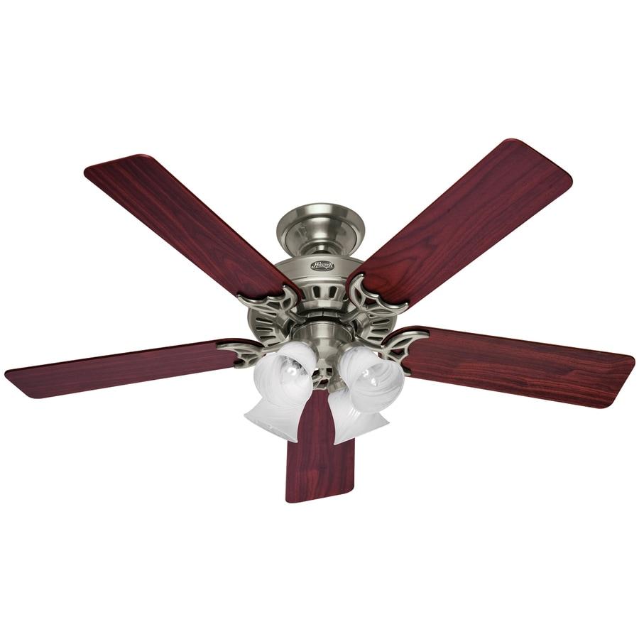 Hunter 52-in Studio Brushed Nickel Ceiling Fan with Light Kit