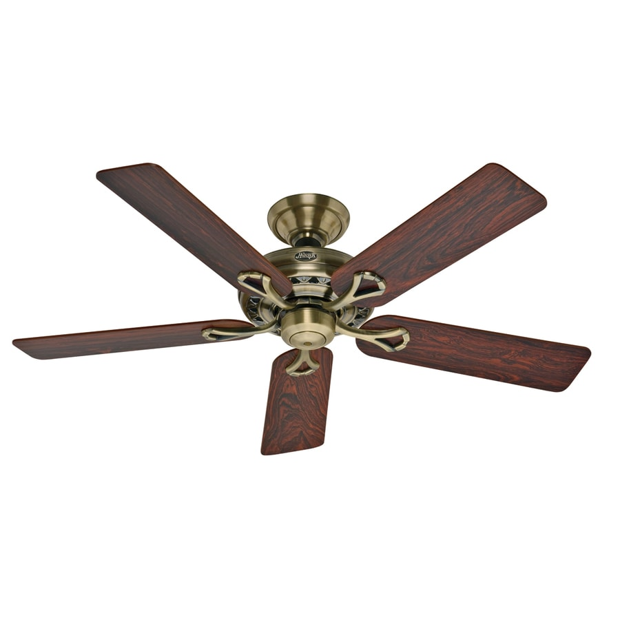 Hunter 52-in Savoy Antique Brass Ceiling Fan ENERGY STAR