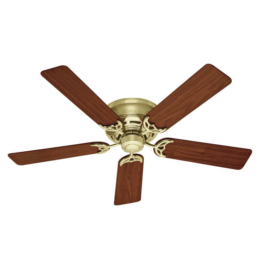 Hunter 52-in Low Profile Bright Brass Ceiling Fan