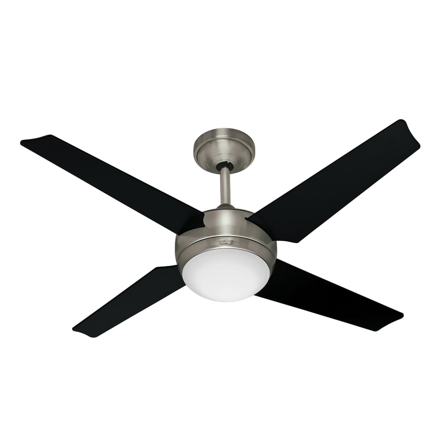 Hunter Sonic 52-in Brushed Nickel Downrod Mount Ceiling Fan with Light Kit and Remote Control (4-Blade)