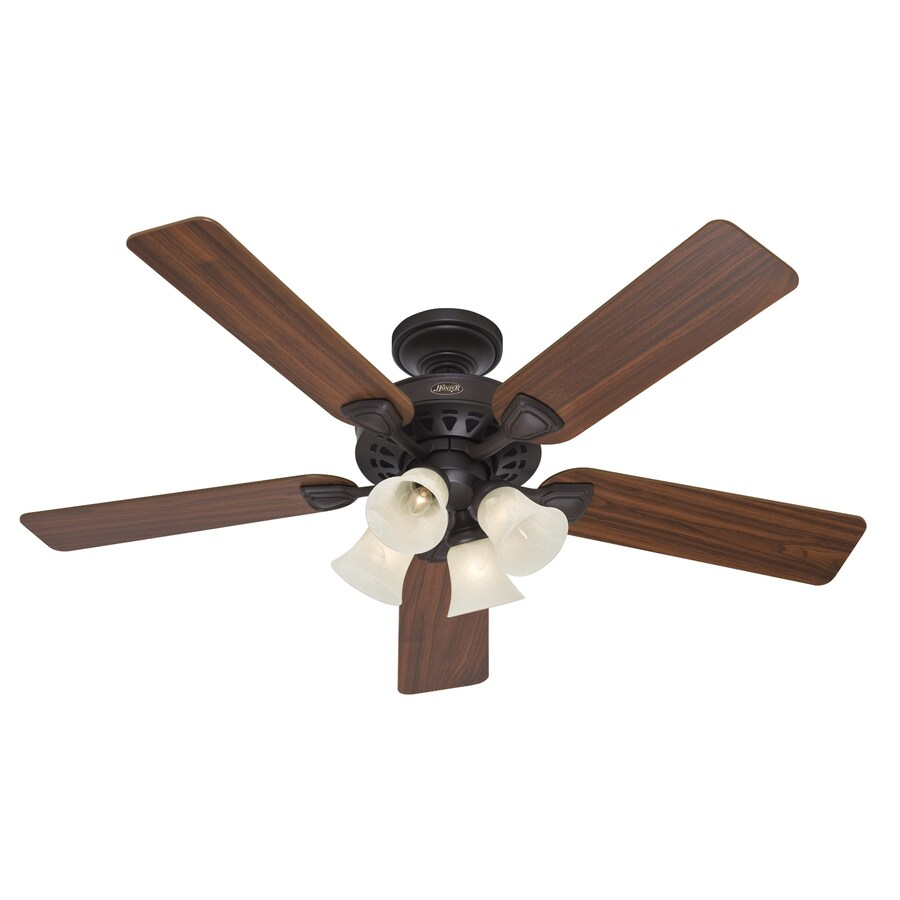 Hunter 52-in 5-Minute New Bronze Ceiling Fan with Light Kit