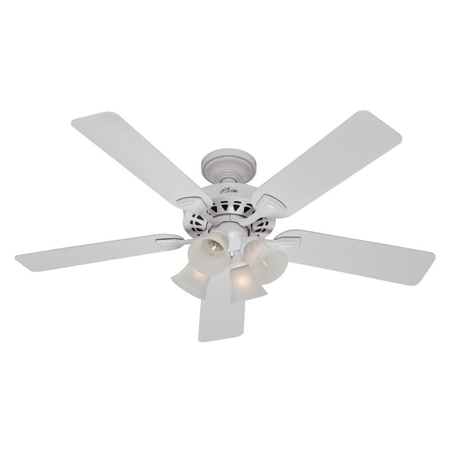 Hunter 52-in 5-Minute White Ceiling Fan with Light Kit