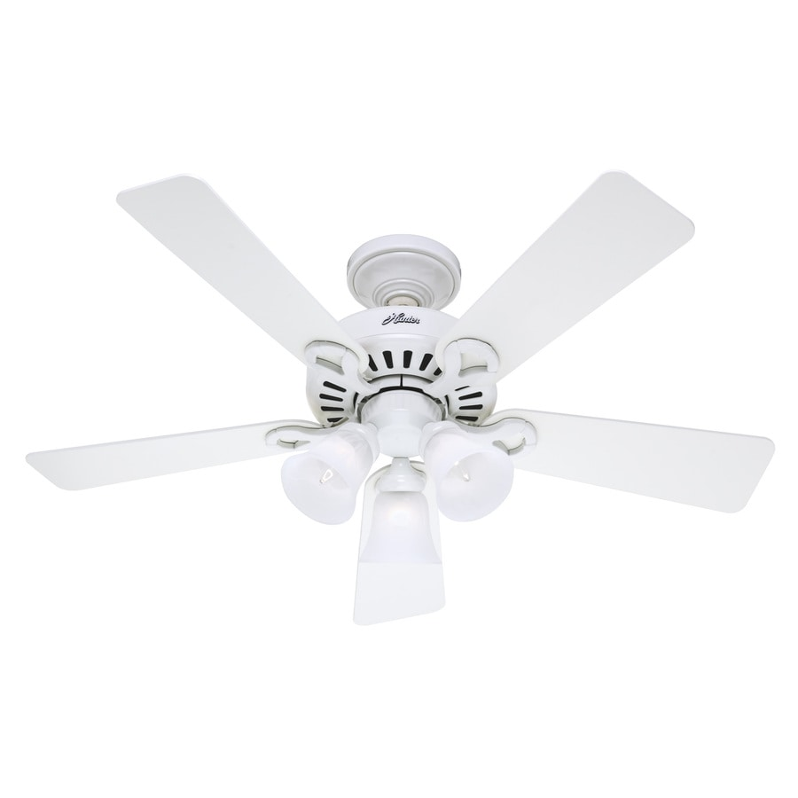 Hunter 44-in 5-Minute Ridgefield White Ceiling Fan with Light Kit