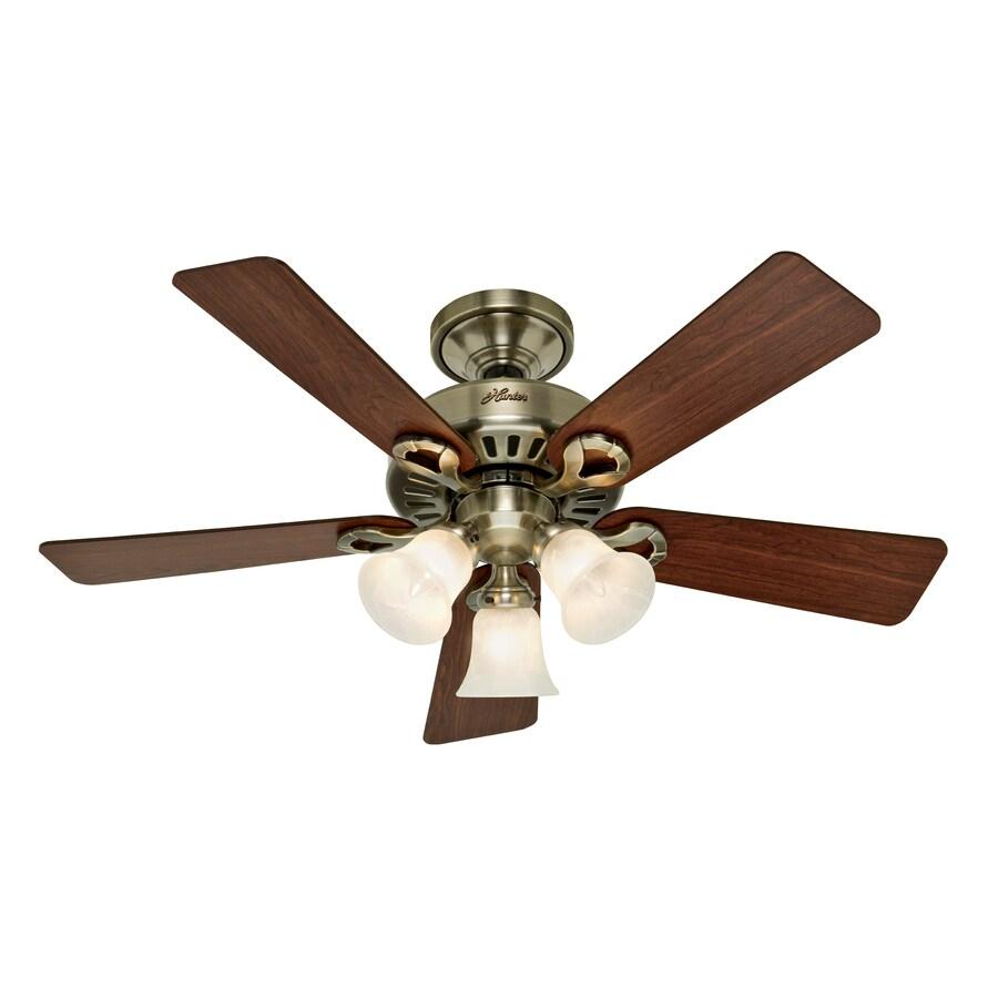 Hunter 44-in Five Minute Ridgefield Antique Brass Ceiling Fan with Light Kit