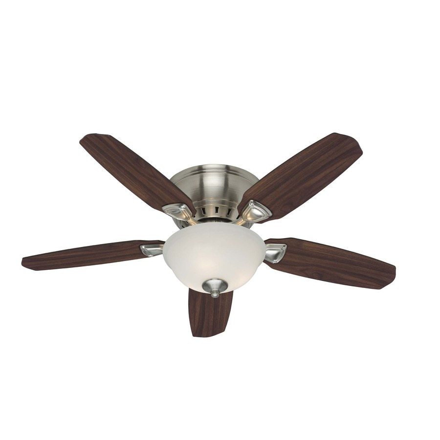 shop hunter small room 5 minute 46 in brushed nickel flush mount ceiling fan with light kit at. Black Bedroom Furniture Sets. Home Design Ideas