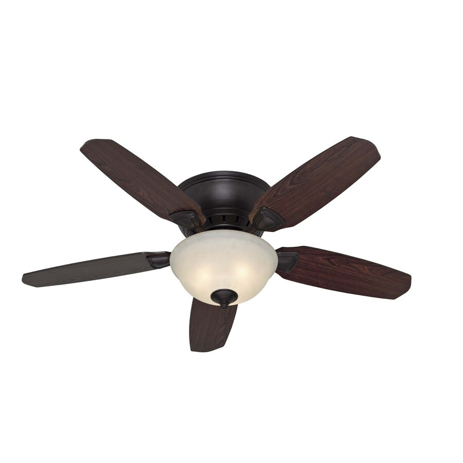 Hunter 46-in Louden Low Pro Premier Bronze Ceiling Fan with Light Kit