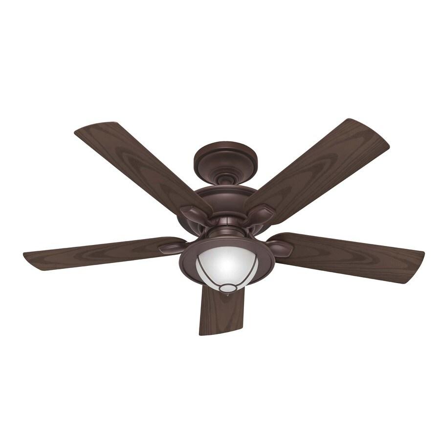 Hunter 52-in Maribel Outdoor New Bronze Outdoor Ceiling Fan with Light Kit (5-Blades)