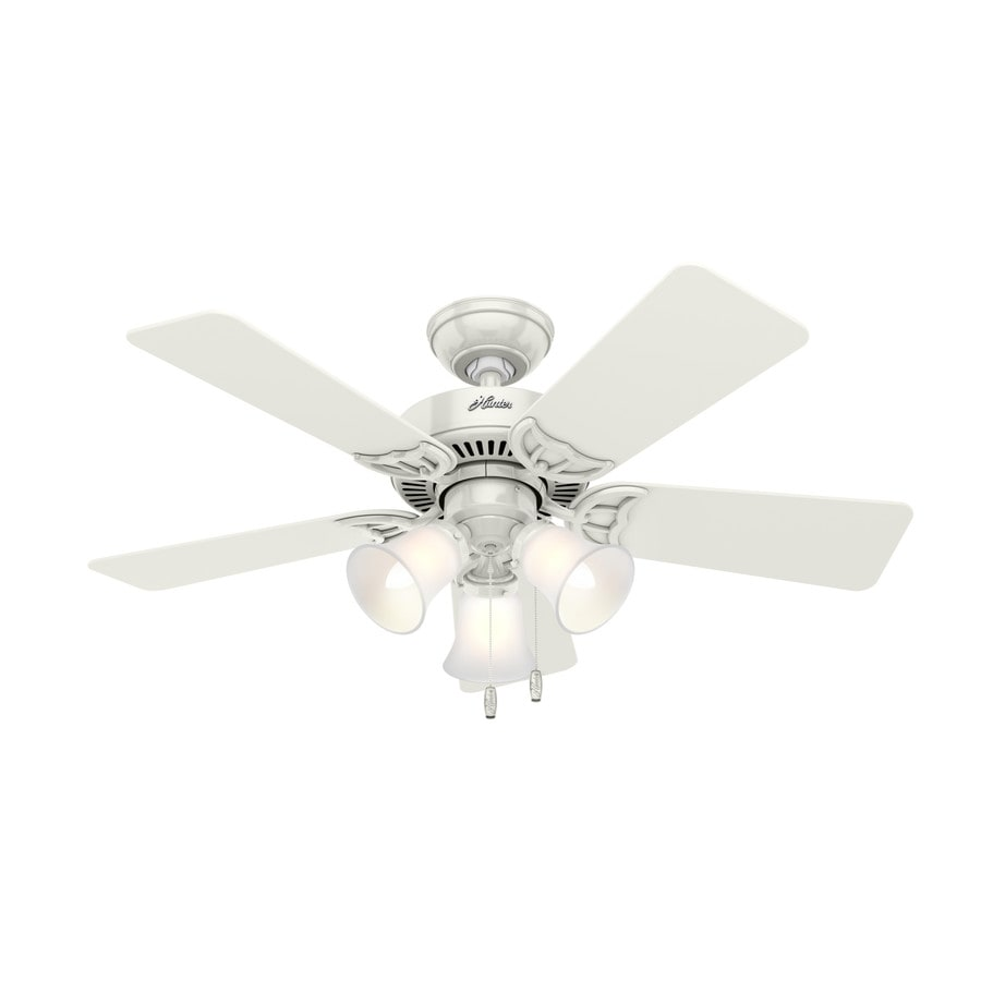 Hunter Southern Breeze 42-in White Downrod or Close Mount Indoor Ceiling Fan with Light Kit